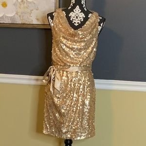 CACHE Gold Sequin Draped Front Dress Belted Sz 2